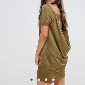 Gold / Olive ASOS t-shirt dress - open cowl back